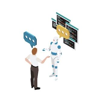 Mężczyzna Komunikujący Się Z Robotem Izometryczny Premium Wektorów