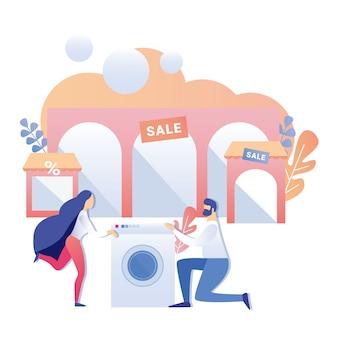 Mężczyzna konsultant oferuje duży rabat sprzedaży na pralkę