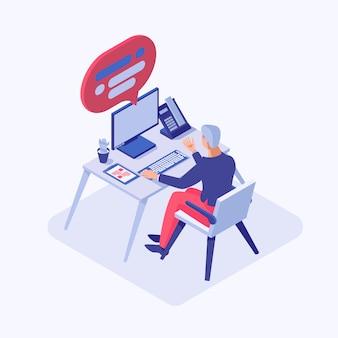 Mężczyzna konsultant, pracownik, programista, kierownik projektu, pracownik biurowy pracujący na komputerze
