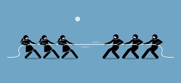Mężczyzna kontra kobieta w przeciąganie liny. ilustracje przedstawiają feministkę, równość płci, siłę i siłę mężczyzny i kobiety.