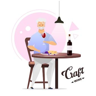 Mężczyzna korzystających kieliszek wina płaski kolor ilustracji. produkcja wina, winifikacja. winiarz ze szklanką. męski charakter picia alkoholu. postać z kreskówki na białym tle na białym tle