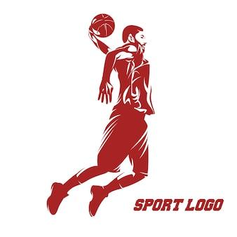 Mężczyzna koszykówki skoku działania loga ilustracyjny wektor