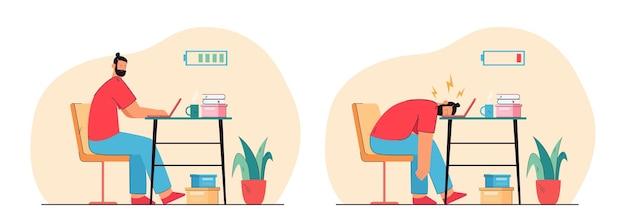 Mężczyzna kreskówka pracownik biurowy z wysoką i niską baterią