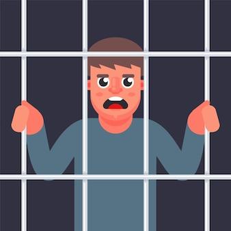 Mężczyzna kryminalista za kratkami. mężczyzna w więzieniu. płaska ilustracja.
