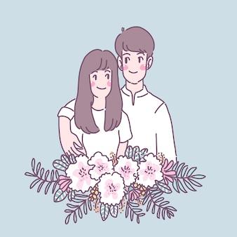 Mężczyzna, Który Daje Kwiaty Ukochanej Kobiecie Darmowych Wektorów