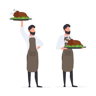 Mężczyzna kucharz trzyma w ręku smażonego indyka. facet w fartuchu trzyma smażonego kurczaka. odosobniony. wektor.