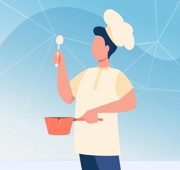 Mężczyzna kucharz z naczynia na sobie kapelusz kucharza. człowiek w mundurze trzymając łyżkę i rondel płaski wektor ilustracja. lekcje gotowania, praca, blog