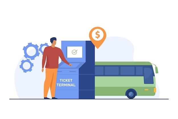 Mężczyzna kupuje bilet autobusowy za pośrednictwem terminalu