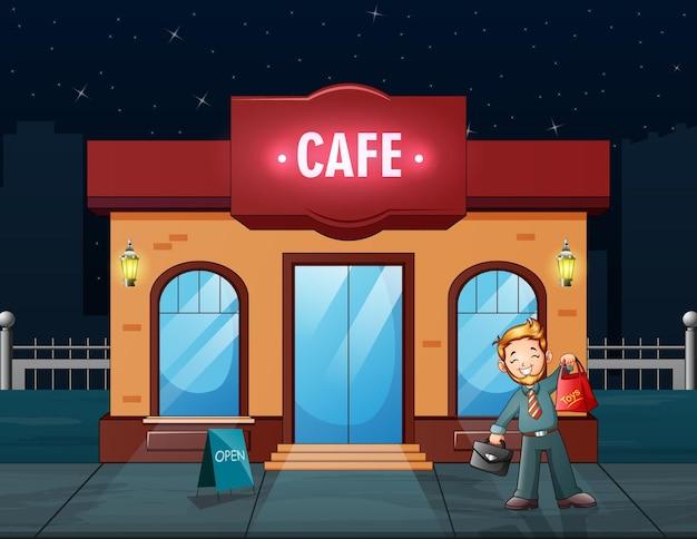 Mężczyzna kupuje jedzenie z ilustracji w kawiarni