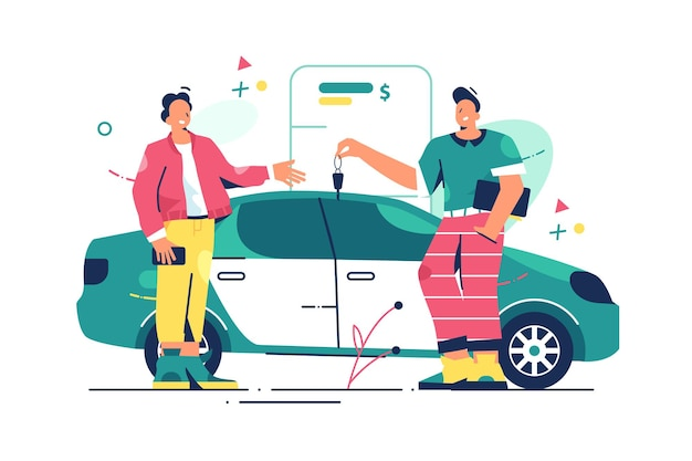 Mężczyzna Kupuje Nowy Samochód Ilustracja. Premium Wektorów