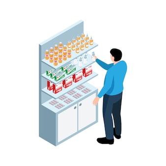 Mężczyzna kupuje spray w aptece izometryczna ilustracja na białym tle