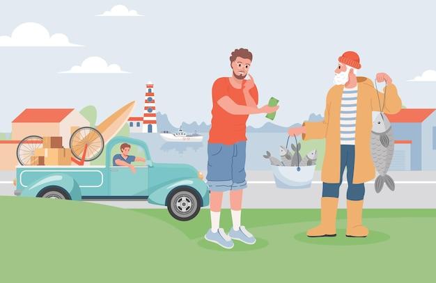 Mężczyzna kupuje świeże ryby z ilustracji rybaka