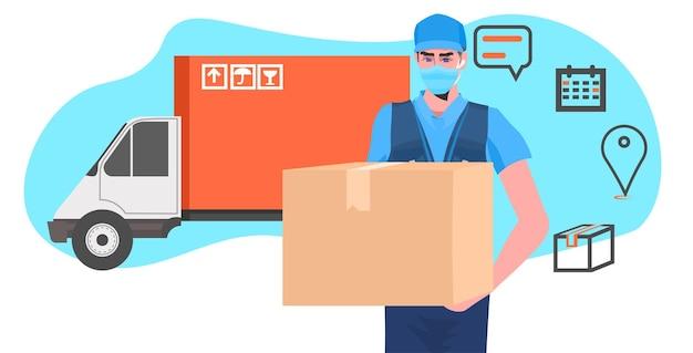 Mężczyzna kurier w masce trzymający karton czarny piątek sprzedaż ekspresowa dostawa koncepcja portret pozioma ilustracja wektorowa