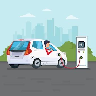 Mężczyzna ładuje samochód elektryczny