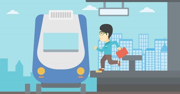 Mężczyzna latecomer biegnie do pociągu.