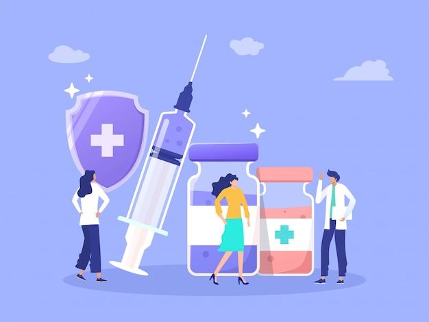 Mężczyzna lekarz daje pacjentowi informioin wstrzykiwanie zdrowia ze strzykawki i fiolki ilustracja koncepcja szczepienia, można użyć do, strona docelowa, szablon, interfejs użytkownika, www, strona główna, plakat, baner, ulotka