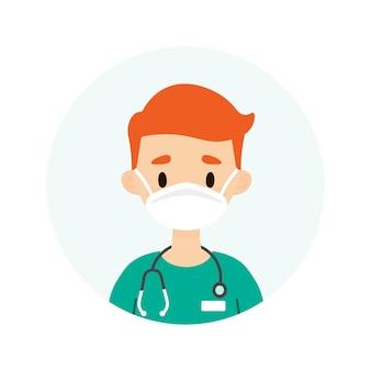 Mężczyzna lekarz lub pielęgniarka w masce
