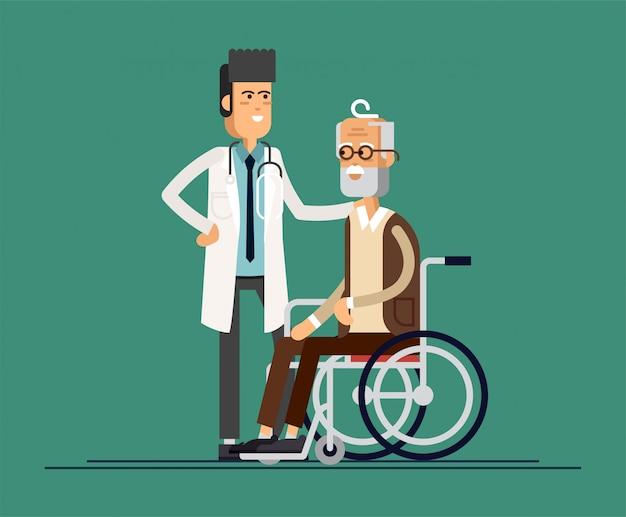 Mężczyzna lekarz pomaga babci iść do chodzika. opieka nad osobami starszymi. ilustracja