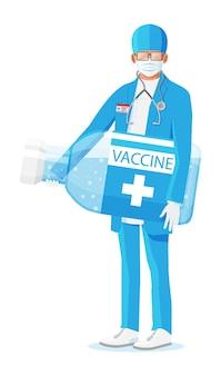 Mężczyzna lekarz posiada dużą ampułkę ze szczepionką. kreskówka lekarz trzymając dużą butelkę na białym tle.