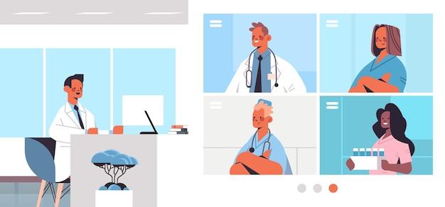 Mężczyzna lekarz posiadający wideokonferencję z mieszanką rasy lekarzy w przeglądarce internetowej windows medycyna opieka zdrowotna koncepcja komunikacji online pozioma ilustracja wektorowa