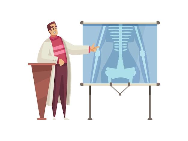 Mężczyzna lekarz rozmawia na konferencji medycznej kreskówki
