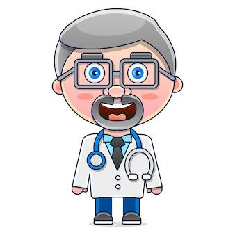 Mężczyzna lekarz w fartuchu.