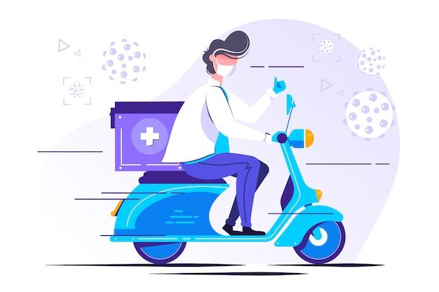Mężczyzna lekarz w mundurze jazda skuterem z medycznych
