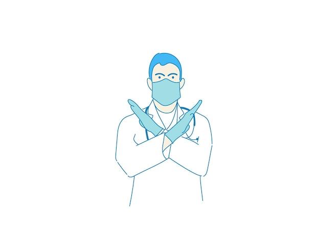 Mężczyzna lekarz w odzieży ochronnej, rękawiczkach i trzymaniu maski, koronawirus, dystans społeczny i koncepcja zdrowia.