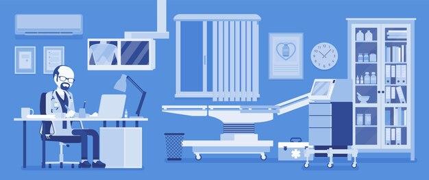 Mężczyzna lekarz we wnętrzu gabinetu lekarza rodzinnego. gabinet badań szpitalnych z placówką medyczną, praktyką kliniczną do przyjmowania i leczenia pacjentów. ilustracja wektorowa, postacie bez twarzy
