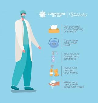 Mężczyzna lekarz z maską i zapobieganie projektowania wskazówek