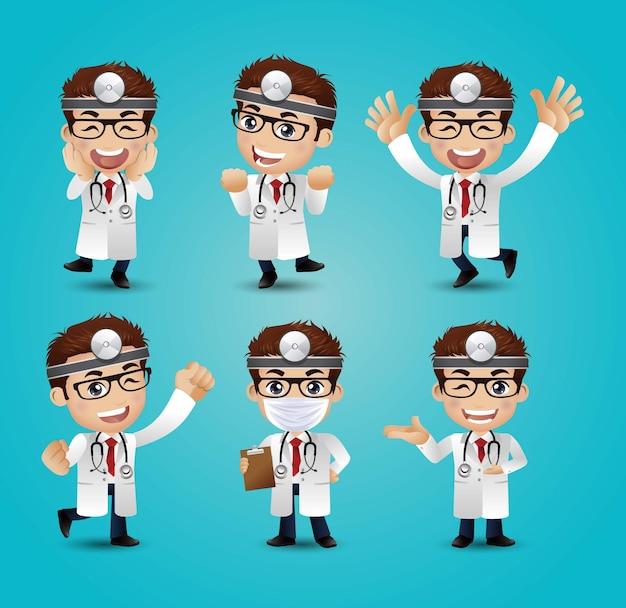 Mężczyzna lekarz z różnymi pozami