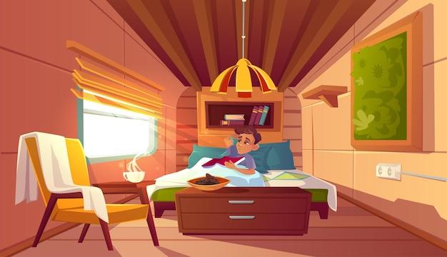 Mężczyzna leżący w łóżku w kamperze rano wektor kreskówka ilustracja przytulne wnętrze sypialni w tra...