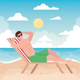 Mężczyzna leżał na krześle plażowym, sezon wakacyjny