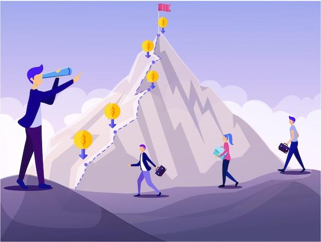 Mężczyzna lider spyglass mountain peak cel finansowy