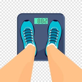 Mężczyzna lub kobieta w trampkach stoi na wadze podłogowej. sprzęt lub narzędzie do pomiaru wagi. ilustracja wektorowa na przezroczystym tle.