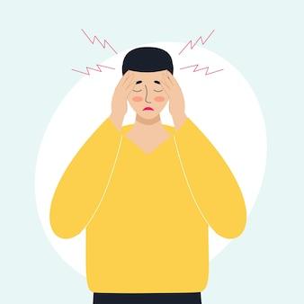 Mężczyzna ma ból głowy pojęcie chorych migreny przeziębienia i choroby wirusowe koronawirus