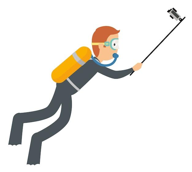 Mężczyzna ma na sobie aparat akcji, aby nagrać swoją akcję