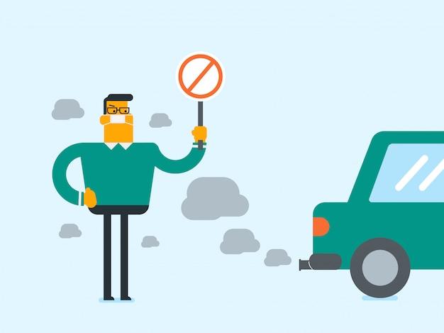 Mężczyzna ma na sobie maskę z powodu toksycznego zanieczyszczenia powietrza.