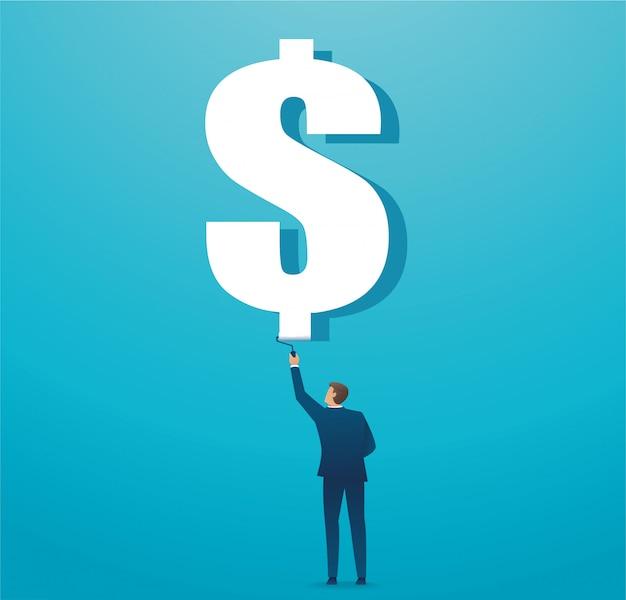 Mężczyzna malujący dolarowy ikona biznesu pojęcie
