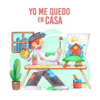 Mężczyzna maluje w domu ilustrację