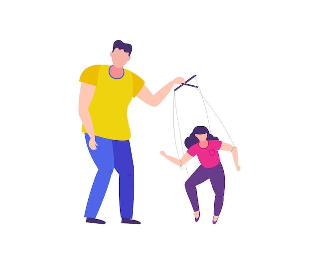 Mężczyzna manipuluje kobietą przemoc domowa i manipulacja kobietą