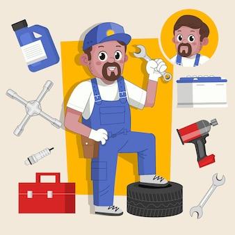 Mężczyzna mechanik urocza postać 2d gotowa do animacji wraz z narzędziami do pracy