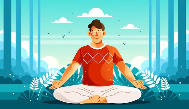 Mężczyzna medytujący w przyrodzie