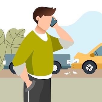 Mężczyzna miał wypadek samochodowy. ubezpieczenie motoryzacyjne. facet dzwoni telefonem komórkowym. płaska ilustracja.