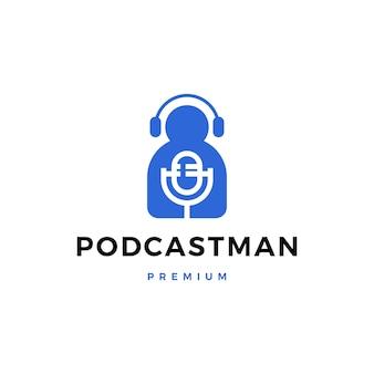 Mężczyzna mikrofonu hełmofonu podcast śpiewa logo ikony ilustrację