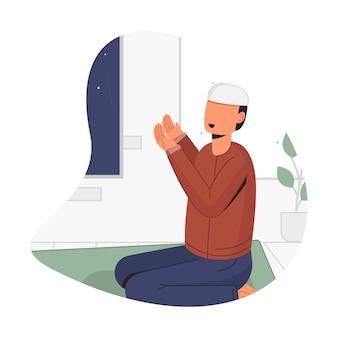 Mężczyzna modlący się w nocy w miesiącu ramadan ilustracja projektu koncepcyjnego