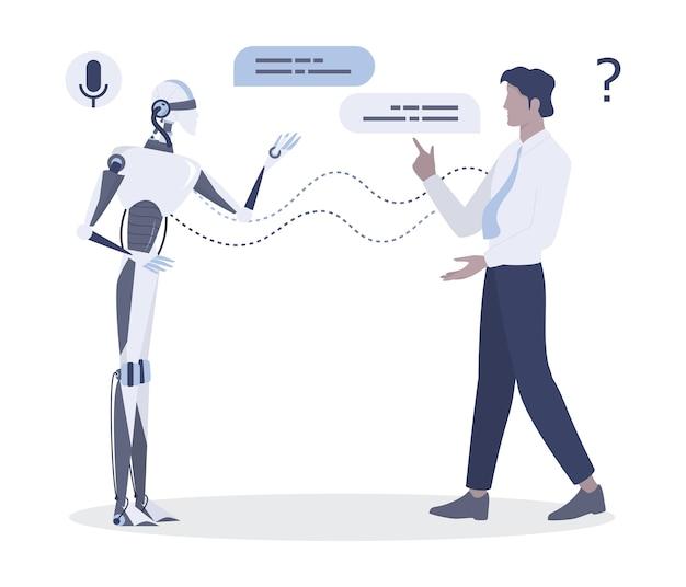 Mężczyzna mówi do robota. rozmowa między człowiekiem a sztuczną inteligencją. chatbot i koncepcja wsparcia technicznego. ilustracja
