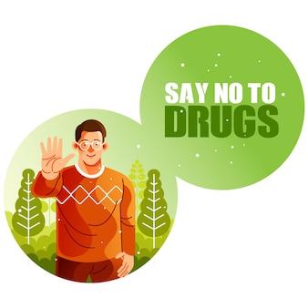 Mężczyzna mówi nie narkotykom