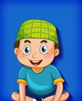 Mężczyzna muzułmański postać z kreskówki na tle gradientu koloru