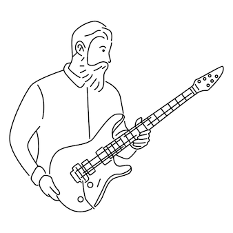 Mężczyzna muzyk gra na gitarze elektrycznej